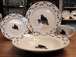 WR10338.LBBTRX - Rustic Wildlife Wide Rim 16pc Dinnerware set - Bear on Log with Tracks WR10338.LBBTRX