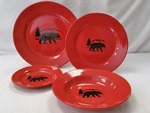 WS10312.BERS - 4pc Crimson Red Bear Silhouette Dinnerware Set WS10312.BERS
