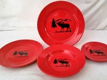 WS10312.ELKS - 4pc Crimson Red Bugling Elk Silhouette Dinnerware Set WS10312.ELKS