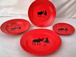 WS10312.MOSS - 4pc Crimson Red Moose Silhouette Dinnerware Set WS10312.MOSS