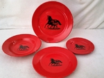 WS10312.MRFS - 4pc Crimson Red Mare and Foal Silhouette Dinnerware Set WS10312.MRFS