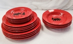 WS10312 - 4pc Crimson Red Silhouette Dinnerware Set - Select Your Artwork WS10312.