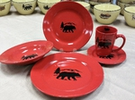 WS10316.BERS - 20pc Crimson Red Bear and Mountain Silhouette Dinnerware Set (4 place settings) WS10316.BERS