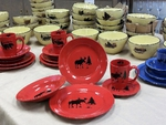 WS10316.MOSS - 20pc Crimson Red Moose and Tree Silhouette Dinnerware Set (4 place settings) WS10316.MOSS