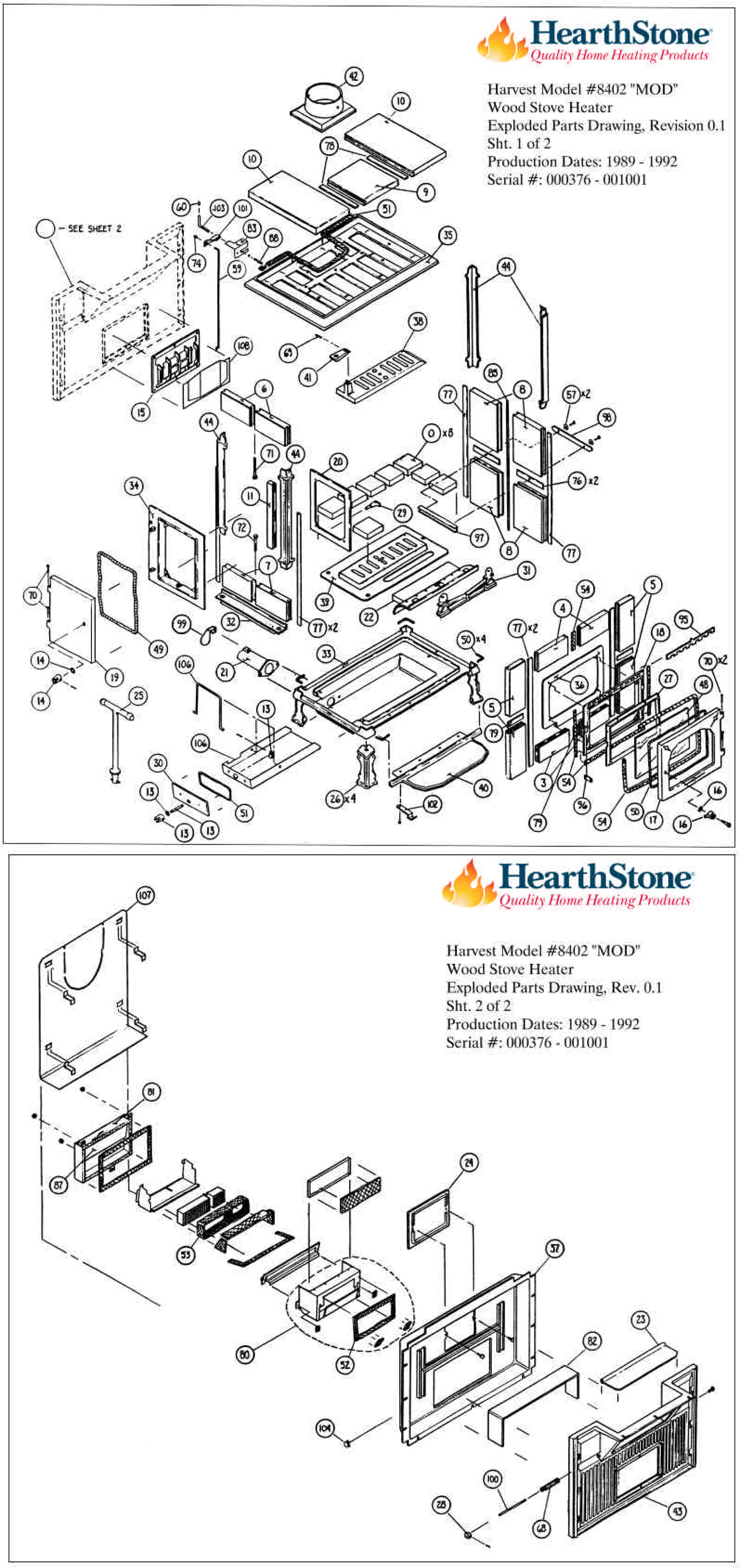 Harvest Model 8402 Parts (8402) The Cozy Cabin Hearthstone Parts Store