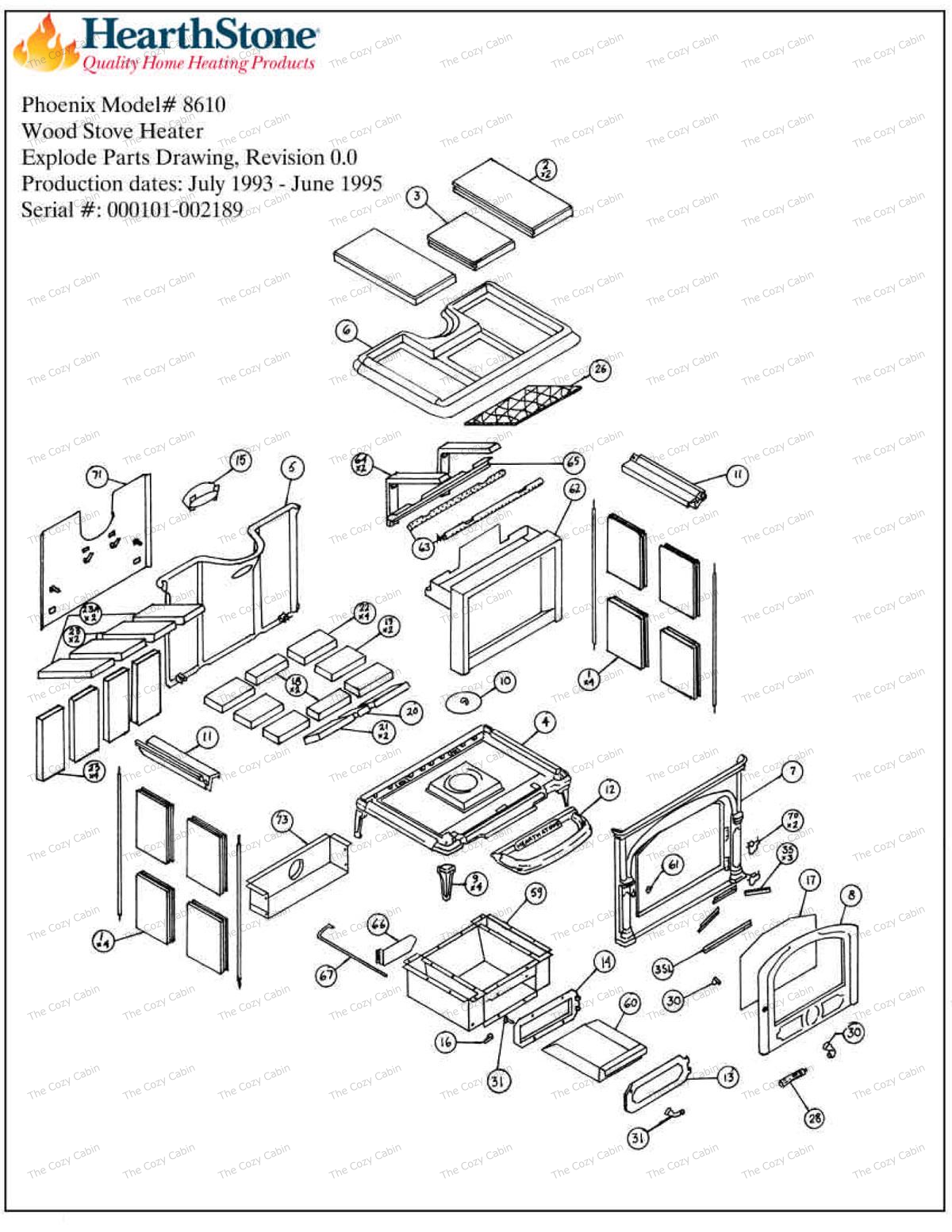 Phoenix Model 8610 Parts #8610 - Phoenix Model 8610 Parts (8610) The Cozy Cabin Hearthstone Parts Store