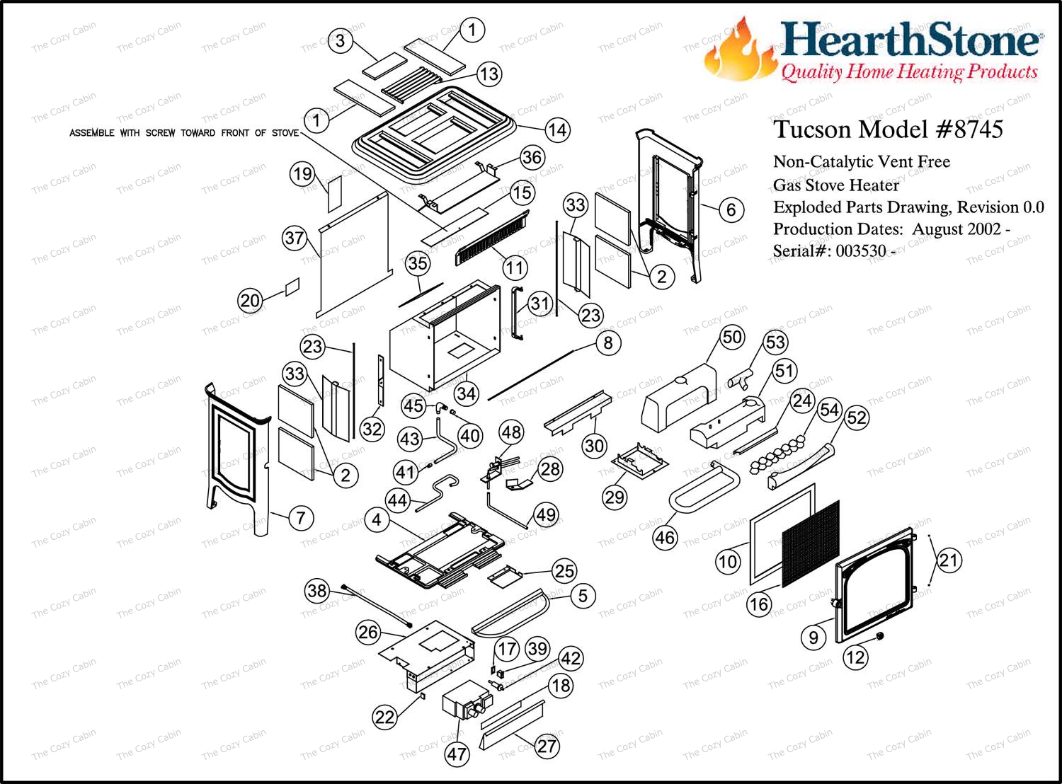 Tucson Vf Model 8745 Parts The Cozy Cabin Hearthstone Store Gas Wall Heater Wiring Diagrams