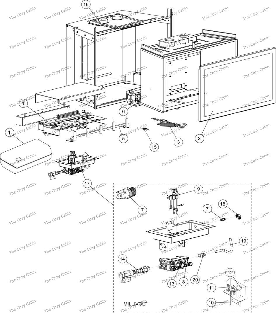 EDV135 - Lennox Direct Vent Gas Insert (H0876)  #775568MRevNCEDVI35