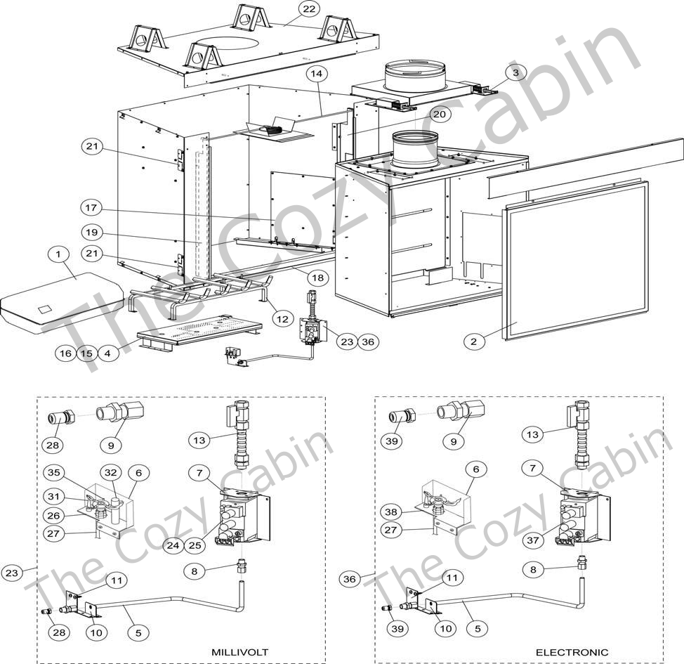 775572MRevNC - Gas Log - The Cozy Cabin Lennox Hearth Parts Store