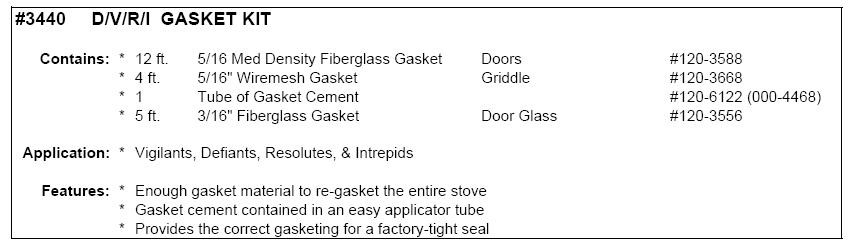 Defiant/Vigilant/Resolute/Intrepid Gasket Kit #VC000-3440