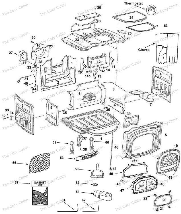 Resolute I Ii 00420043 The Cozy Cabin Stove Fireplace Parts Store
