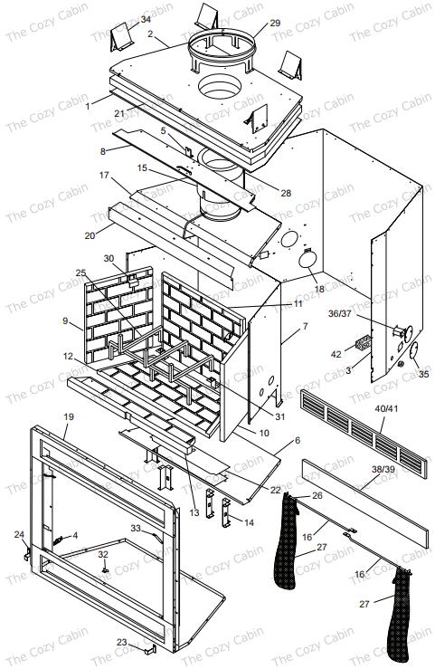 C36L / R TC36L / R Series Corner Fireplace #90xxxxxx-93xxxxxx