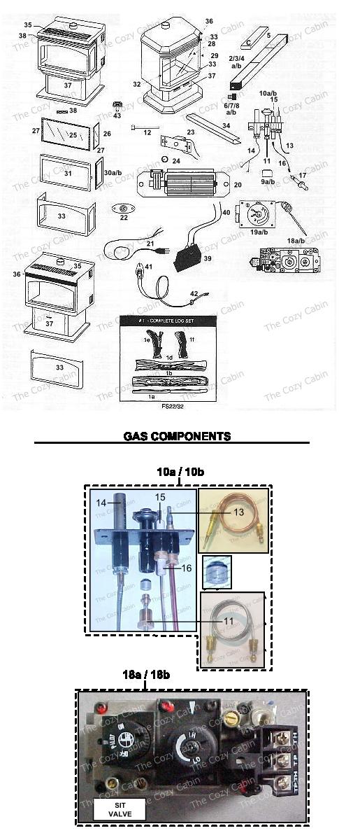 FS22TN / TP / RN / RP Freestanding Gas Fireplace (R31F,G,A,B00) #FS22TN-tp-rn-rp