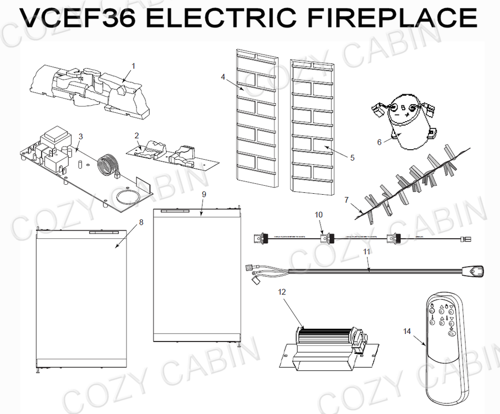 Electric Fireplace (VCEF36) #VCEF36