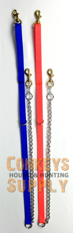 Nylon with 2' Chain Lead for 1 or 2 dogs y-NC