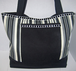 Black Striped Tote TO3105