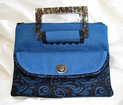Denim & Lace Hand Bag SD3101