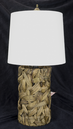 0902 Rattan Lamp With Wood Base And Rolled Edge Drum 0902