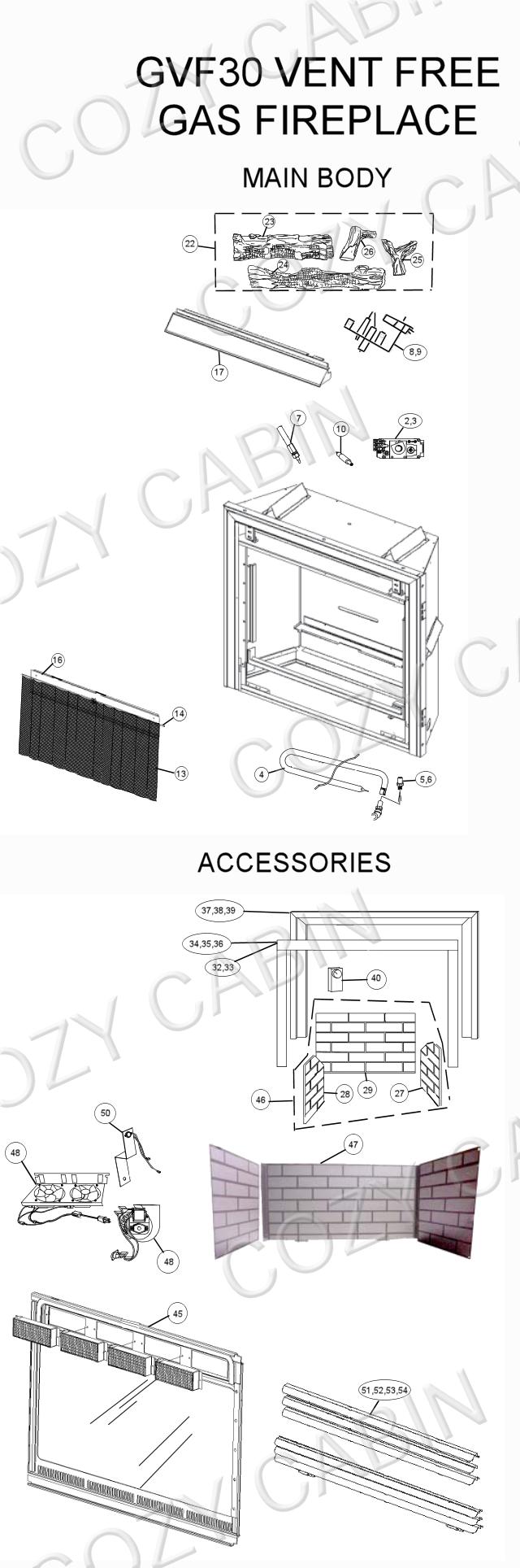 vent free gas fireplace gvf30 gvf30 napoleon parts