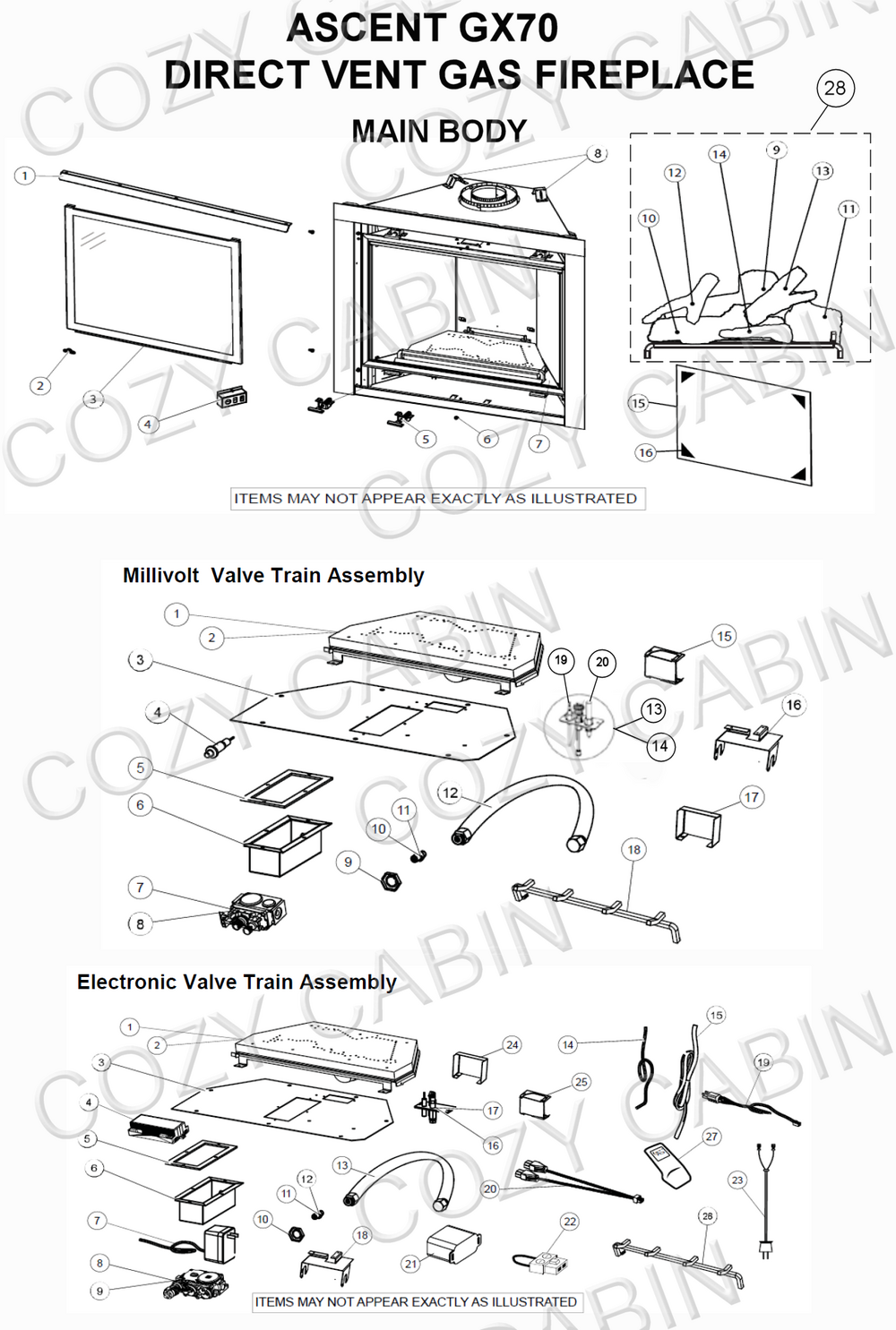 ascent direct vent gas fireplace gx70 gx70 napoleon parts