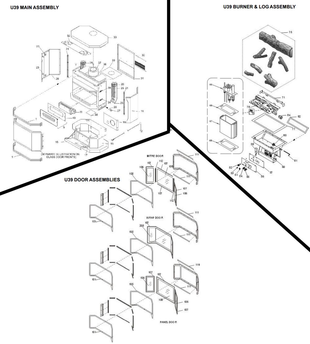ultimate u39 u39 cozy cabin regency parts store rh regencypartsstore com regency p36 fireplace parts regency fireplace parts ottawa