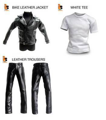 "Inhouse 1/6 Scale 12"" Biker Leather Jacket w/ T-Shirt & Pants Trousers IH-022 #IH-022"