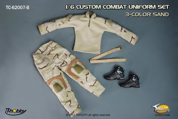 "TOYS CITY Custom Combat Uniform Set 3-Color Sand 1/6 Scale 12"" Figures 62007B #62007B"