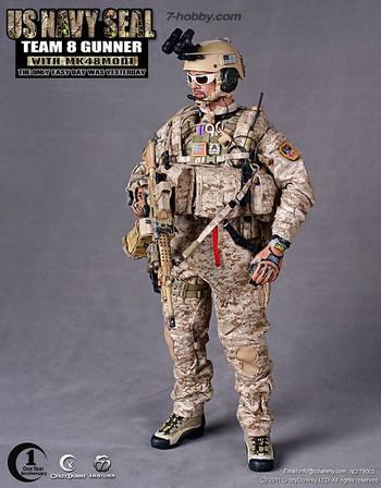 Crazy Dummy 1/6 Scale 12'' US Navy Seal Team 8 MK48 MOD1 Gunner 78003 #78003