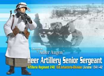 "Dragon Model WWII German 1/6 scale 12"" Heer Artillery Sergeant Adler Augen 70625 #70625"