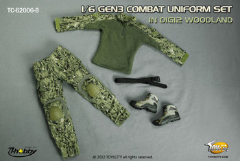 "TOYS CITY GEN3 Uniform Set Digi2 Woodland for 1/6 Scale 12"" Figures 62006B #62006B"