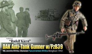 Dragon 1/6 Scale 12'' WWII German Soldier DAK Anti-Tank Gunner Rudolf Kierst 70820 #70820