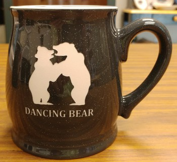 BL10197E.DBER - 16oz Charcoal Bell Mugs - Sand Carved Dancing Bear #BL10197E.DBER