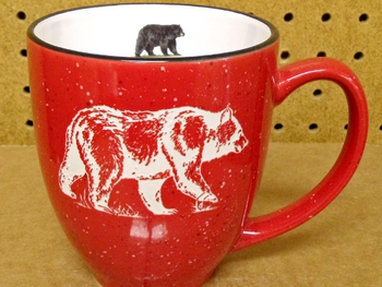 BM126E.BLKB - 16oz Red Bistro Mug - Sand Carved Black Bear #BM126E.BLKB