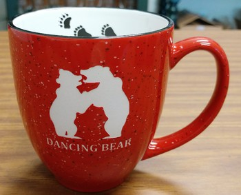 BM126E.DBER - 16oz Red Bistro Mugs - Sand Carved Dancing Bear #BM126E.DBER