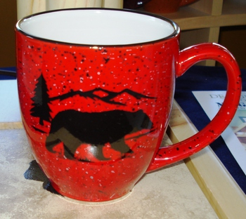 BM126.BERS - 16oz Red Bistro Mug - Bear and Mountain Silhouette #BM126.BERS