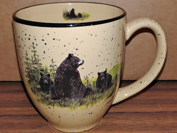 BM127.LBF - Landscape Bear and Cubs 16oz Almond Bistro Mug #BM127.LBF