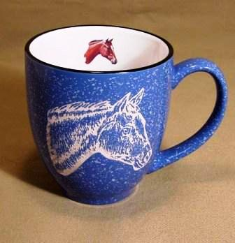 BM145E.HRRA - 16oz Ocean Blue Bistro Mug - Sand Carved Red Bay Horse Head #BM145E.HRRA