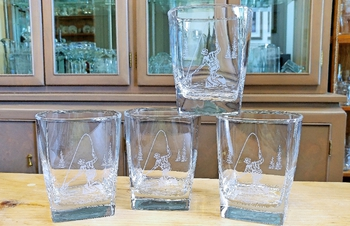 GP434.FFM - Square Hi-Ball Glasses - Sand Carved - Fly Fisherman (Set of 4) #GP434.FFM