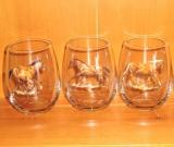 Stemless Wine Goblets 3 Size Options - Full Color- Western Horses (Set of 4) GW10202.HRW