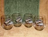 Stemless Wine Goblets 3 Size Options - Full Color- Jumping Bass (Set of 4) GW10202.JBAS