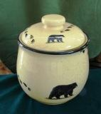 Lodge Collection Cookie Jar - Signature Series - Black Bear with Tracks LCCJ.BLKBTRX