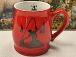 BL10228.FFM - Bell Mug - Bright Red - Fly Fisherman Silhouette BL10228.FFM