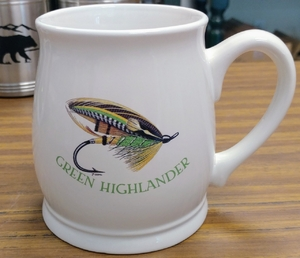 BL10262.SGH - Bell Mug - Bright White - Green Highlander Salmon Flies BL10262.SGH