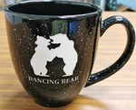 BM10111E.DBER - 16oz Black Bistro Mugs - Sand Carved Dancing Bear BM10111E.DBER
