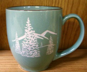 BM10115E.TRES - 16oz Savannah Green With Brown Trim  Bistro Mug - Trees BM10115E.TRES