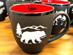 BM10342E.BERS - 16oz Black Matte Bistro Mugs - Sand Carved Bear and Mountain BM10342E.BERS