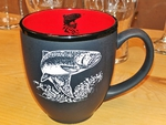 BM10342E.TRT - 16oz Black Matte Bistro Mugs - Sand Carved Jumping Trout BM10342E.TRT