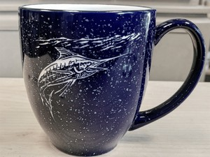 BM125E.MAR - 16oz Cobalt Blue Bistro Mug - Sand Carved Marlin BM125E.MAR