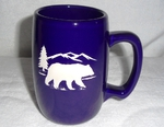 BR10264E.BERS - Cobalt Barrel Mugs - Etched Bear and Mountain Silhouette BR10264E.BERS