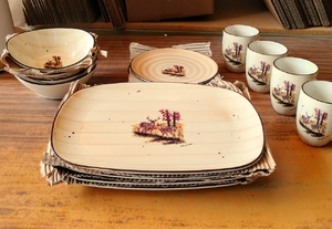 CE10362.LWC - Contemporary Elegance 16pc Whitetail Deer Couple Dinnerware Set with Fruit Bowls CE10362.LWC